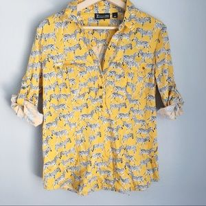 NY & Co.   Yellow Zebra Print Collared Shirt